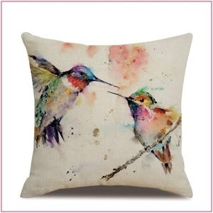 Hummingbird Accent Pillow \ Watercolor